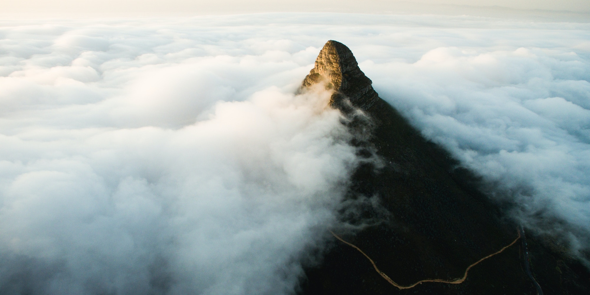 Lions head in the clouds view from Table Mountain